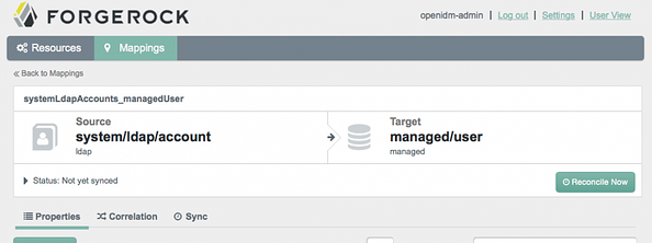 OpenIDM Admin Interface
