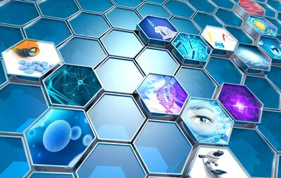 honeycomb illustration with higher education research icons
