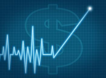graph with dollar sign and lifetime customer value trend line pointing up