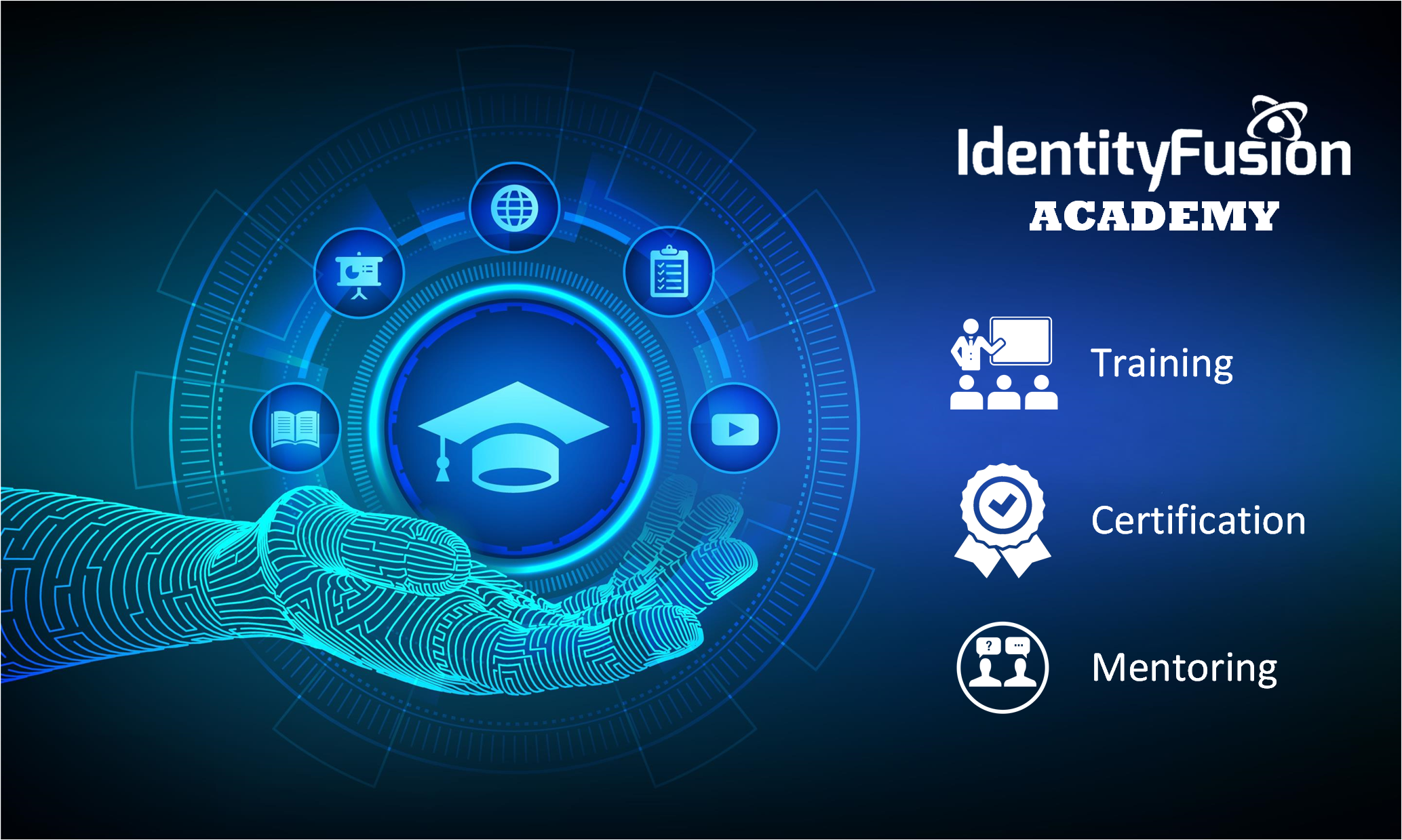 illustration with hand holding graduation cap and education icons and identity fusion academy text