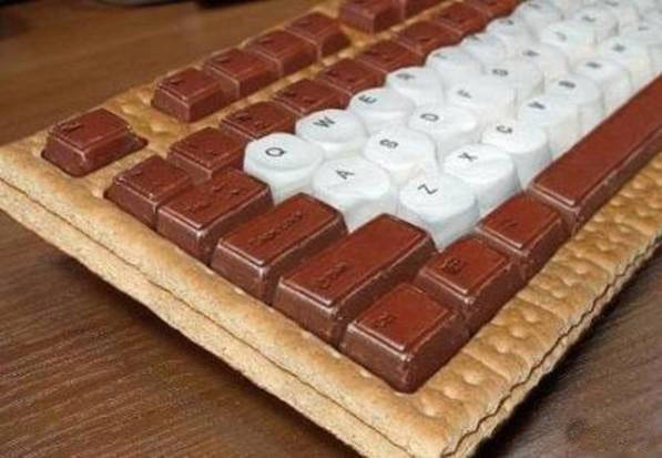 keyboard made of s'mores candy and cookies