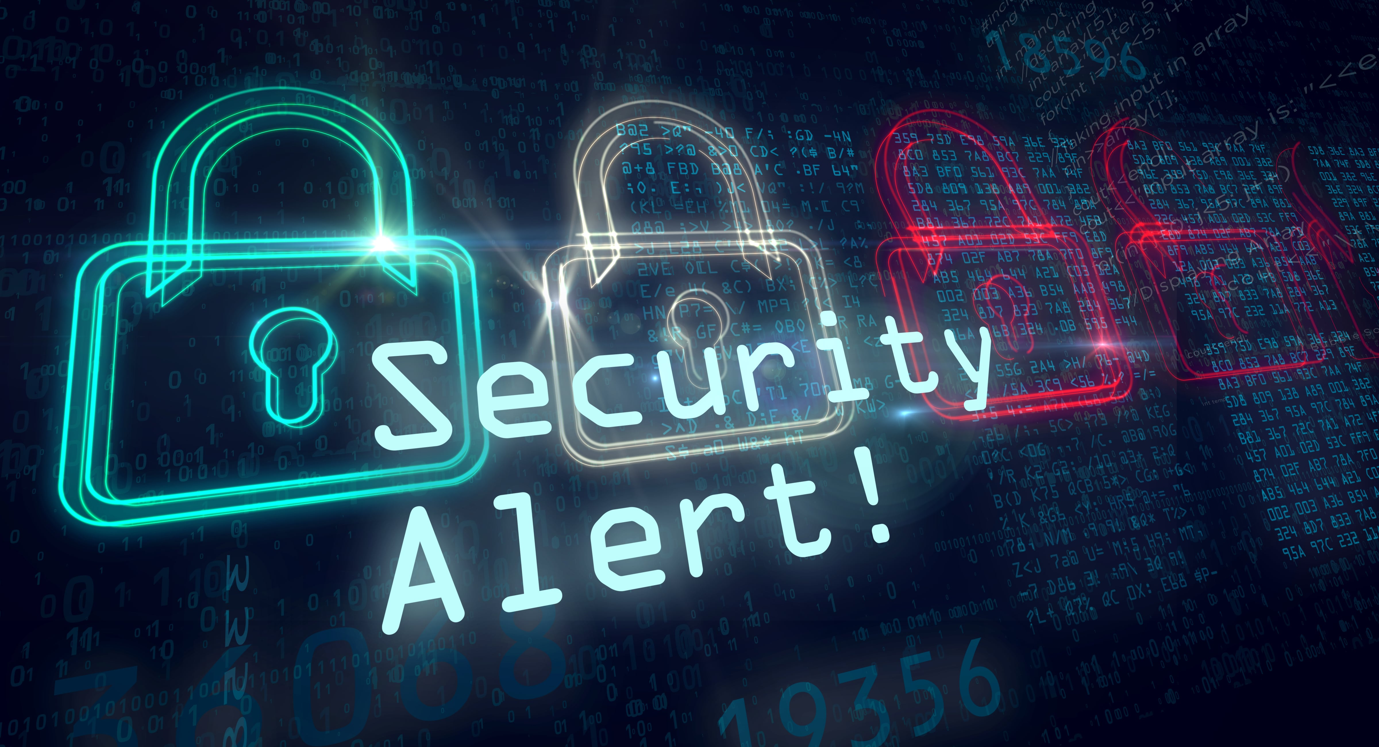 security alert neon sign with padlock