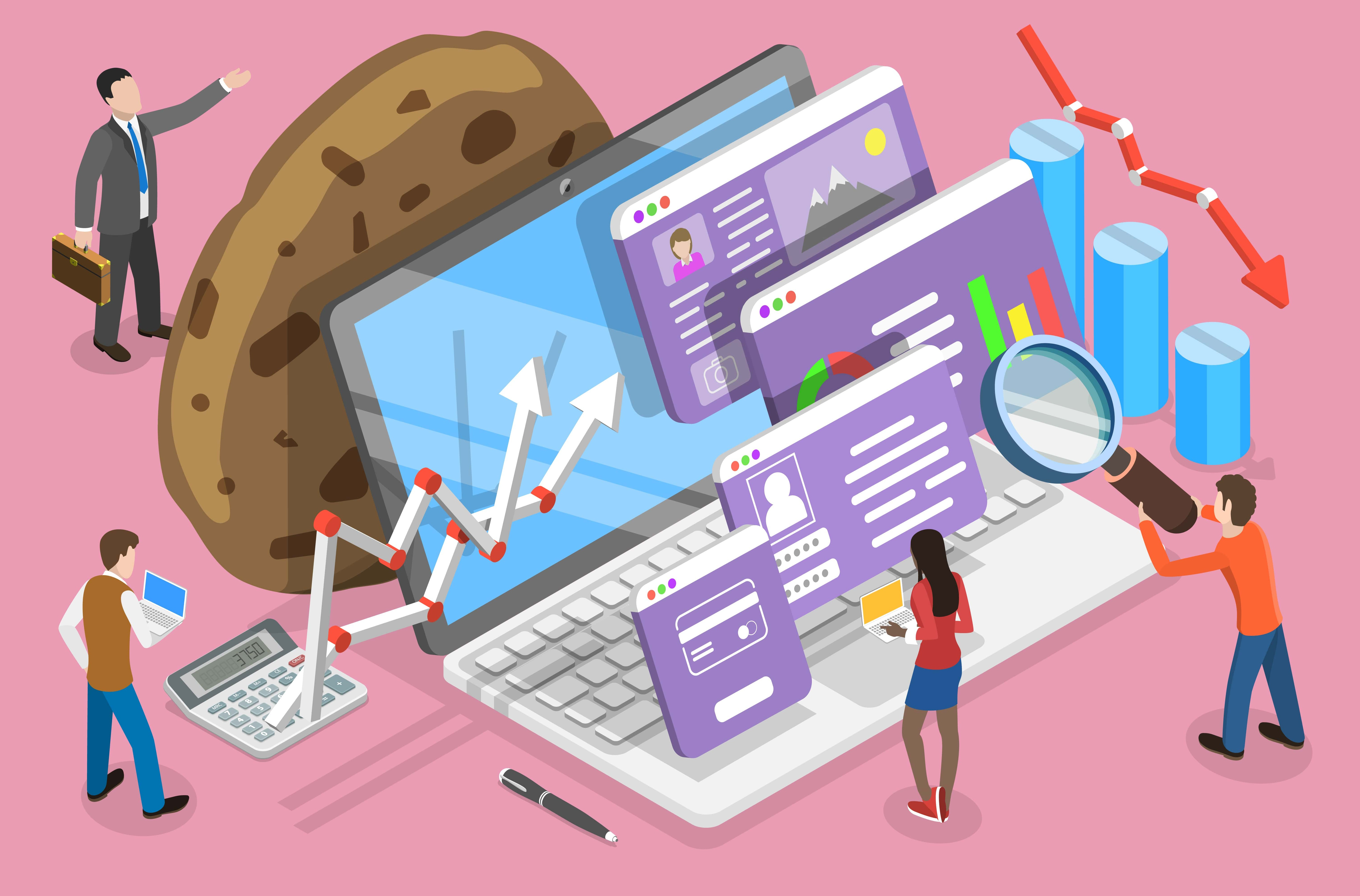 computer with 3D screen illustrations and cookie