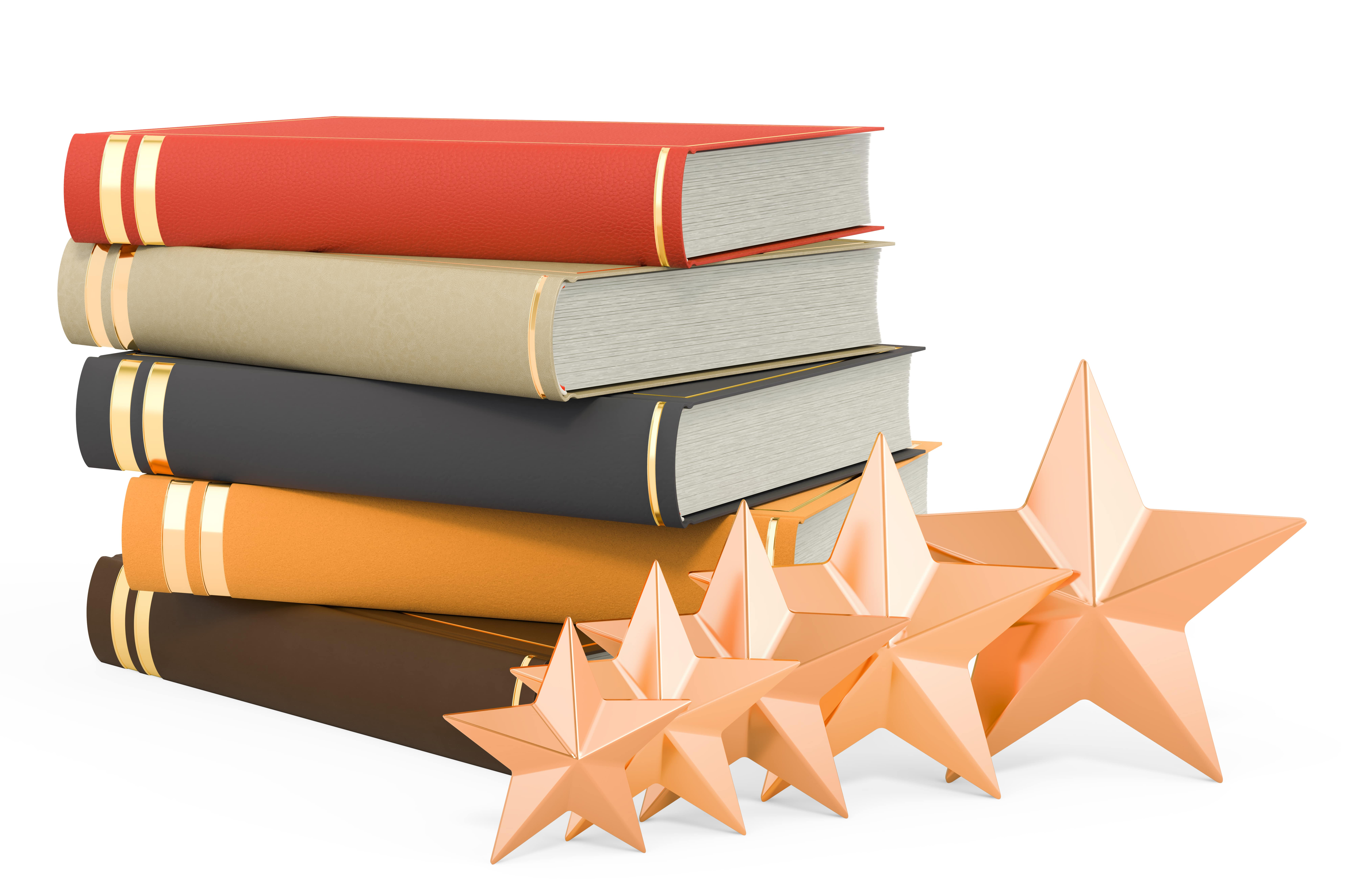 stack of books with gold stars for book review