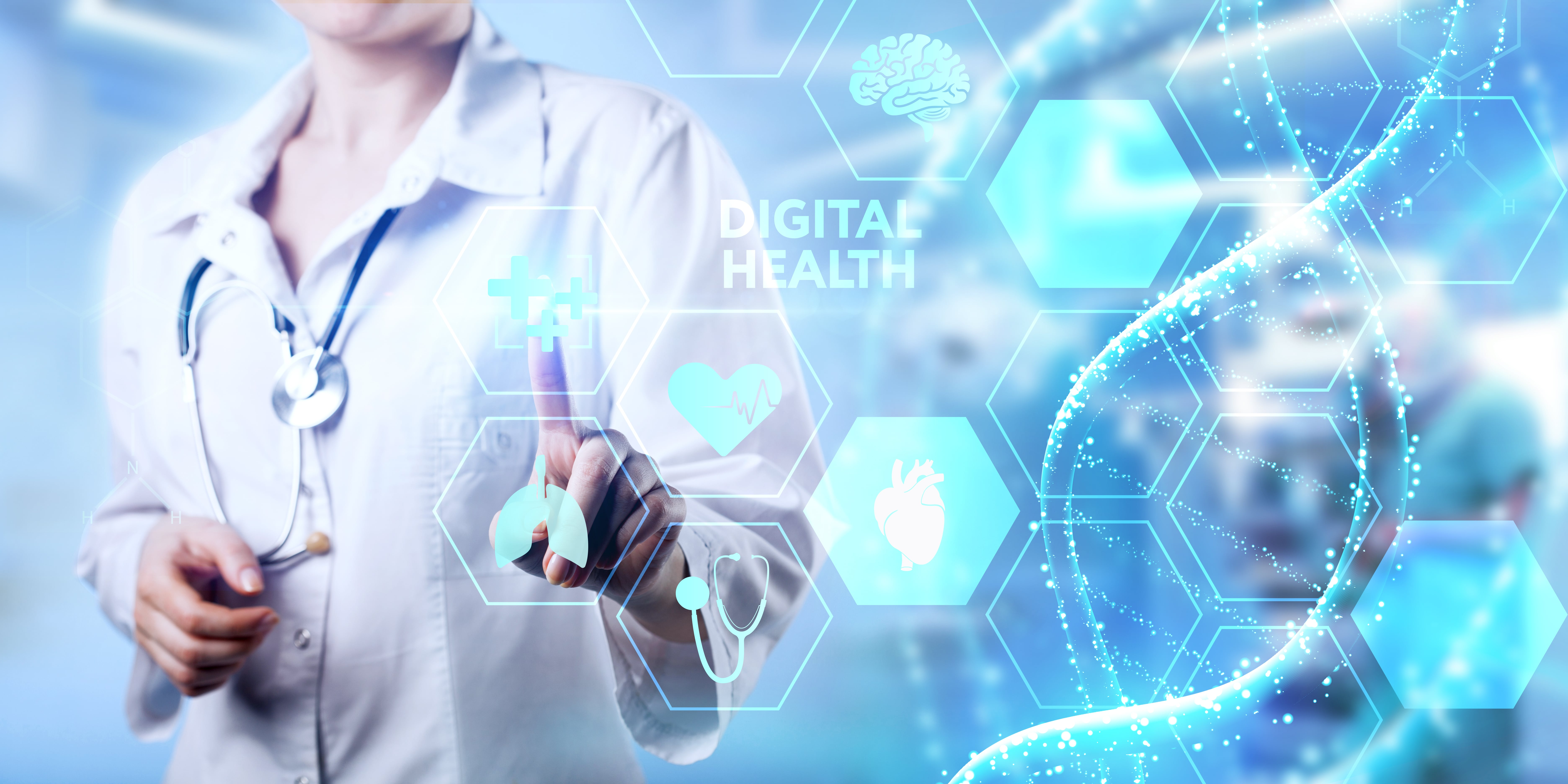 doctor in lab coat with digital health illustration