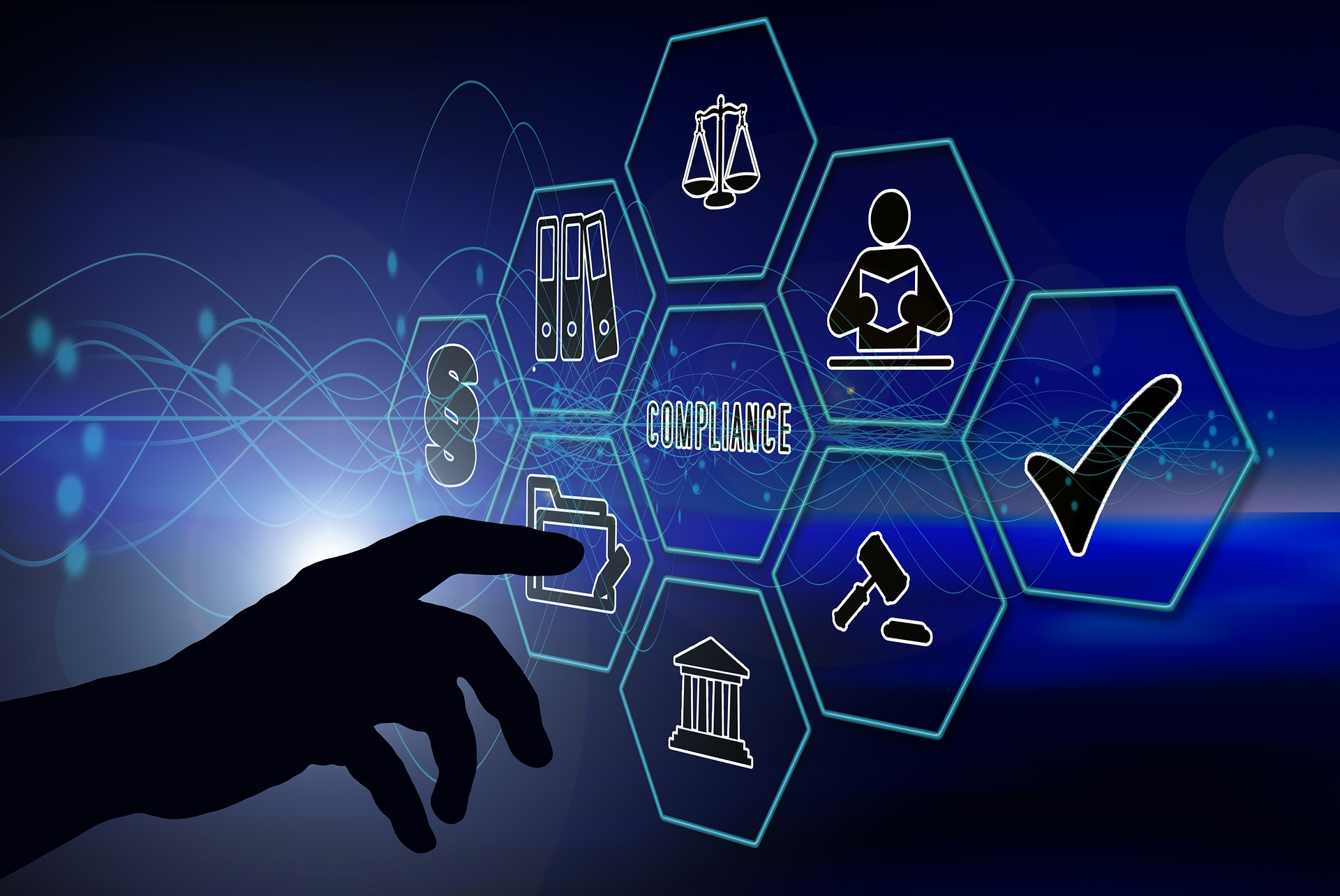 compliance illustration with hand pointing to icons