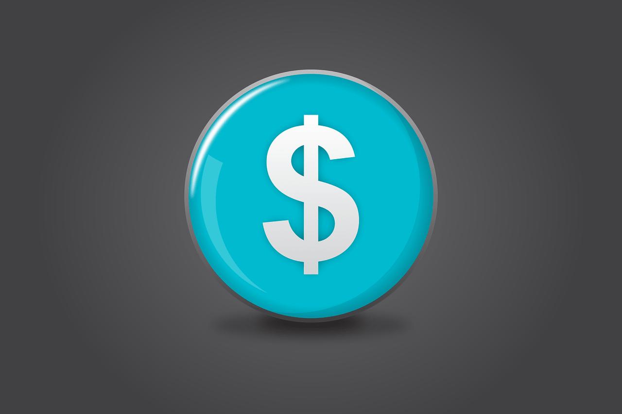 dollar sign inside blue circle
