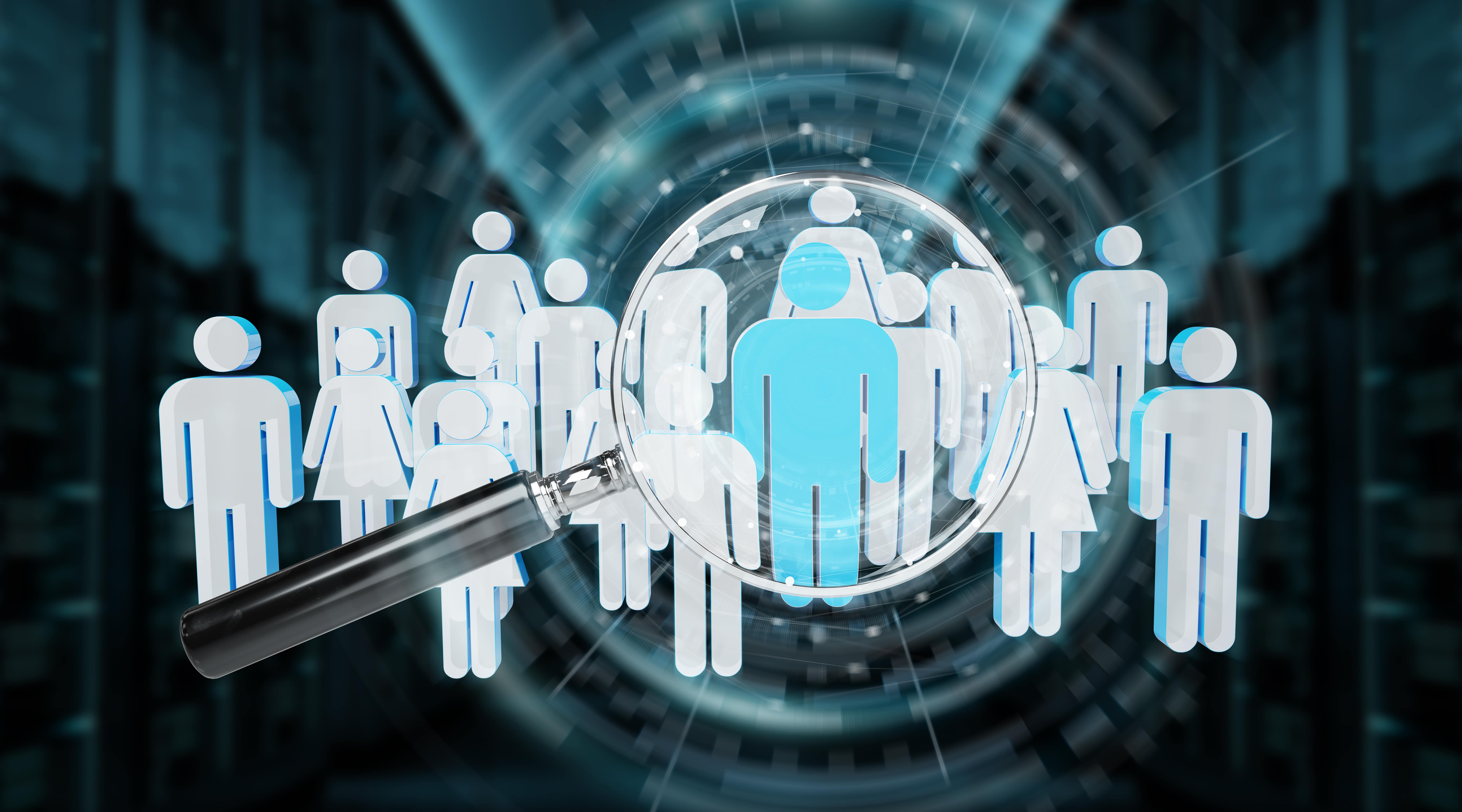 workforce identities with magnifying class illustrating visibility