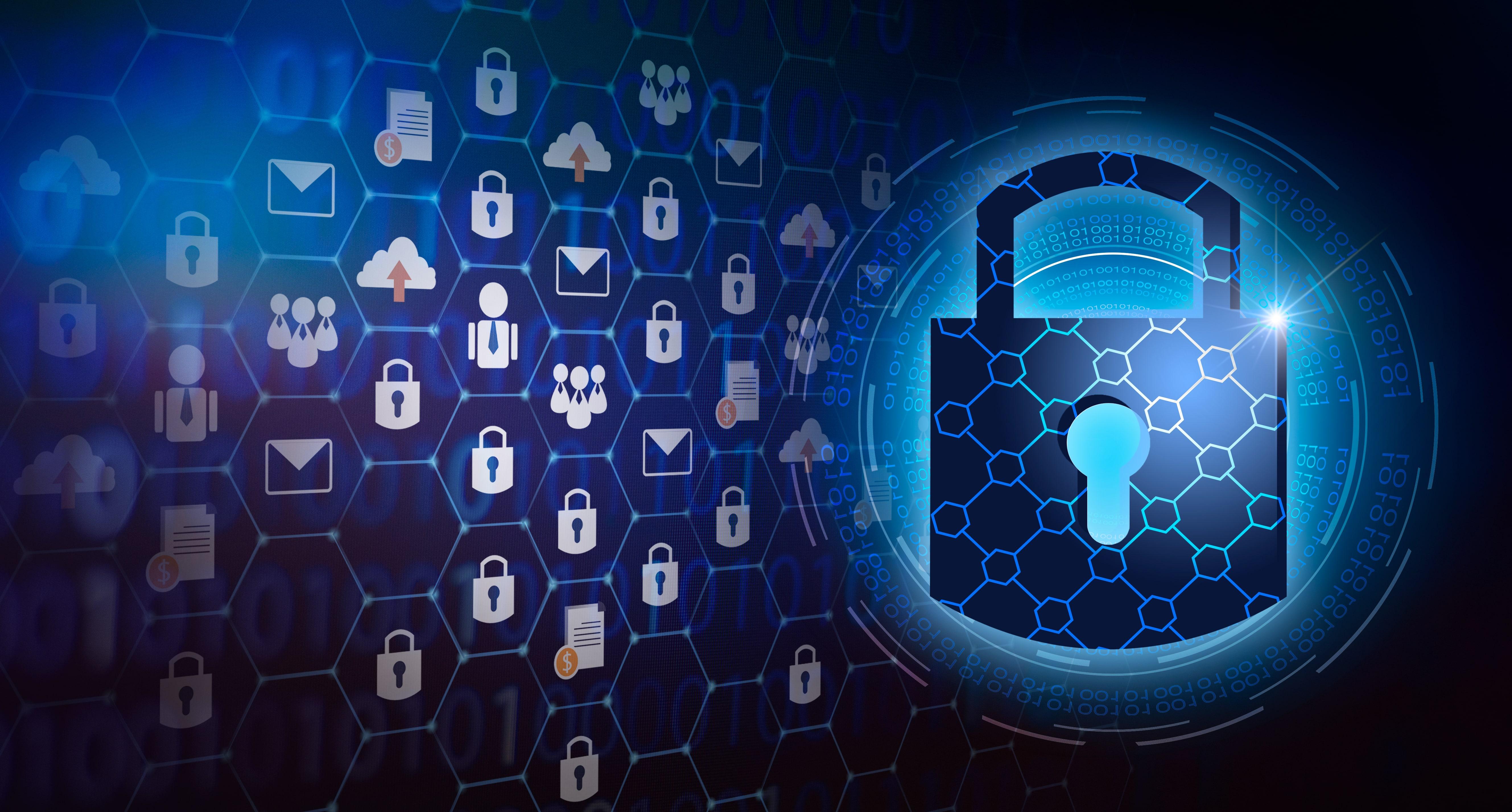 illustration with padlocks showing digital security
