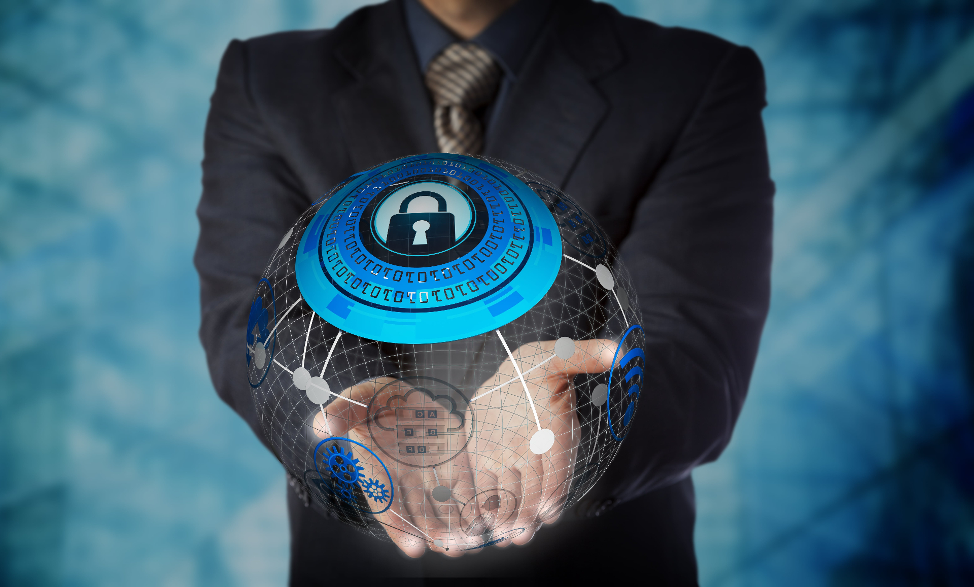 businessman holding illustration of globe with lock illustrating managed services
