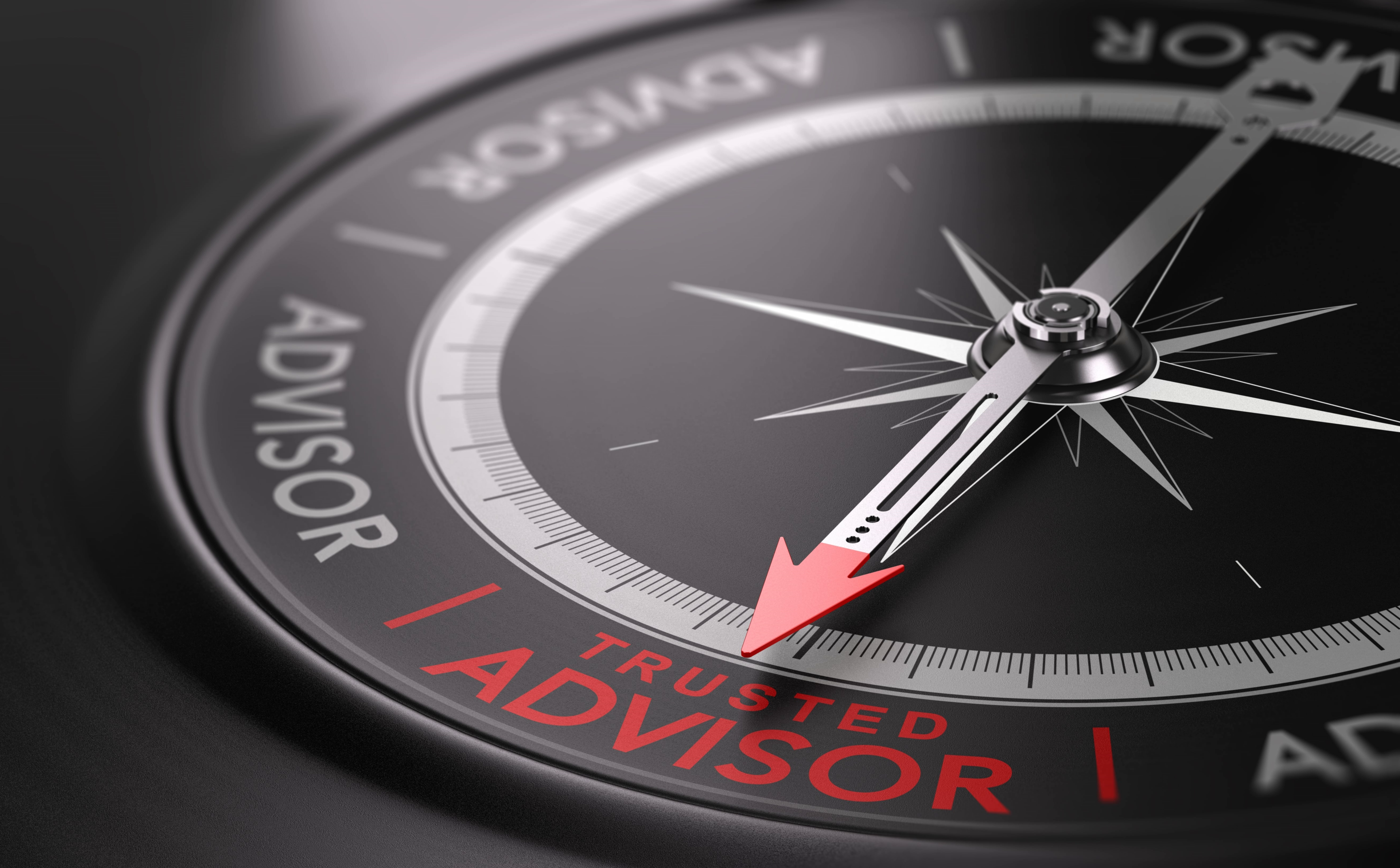 compass with pointing to trusted advisor